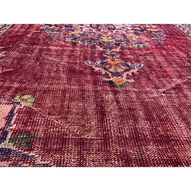Brick Red Antique Handwoven Turkish Red Wool Oversize Rug - 7′1″ × 9′10″ For Sale - Image 8 of 9
