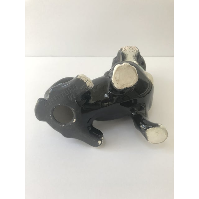 Vintage Black and White Ceramic French Bulldog For Sale - Image 9 of 10