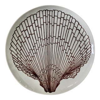 """Fitz and Floyd Brown Shell Design 12"""" Round Platter For Sale"""