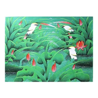 "Chinoiseire Vintage ""Bird and Lillies"" Acrylic Painting"