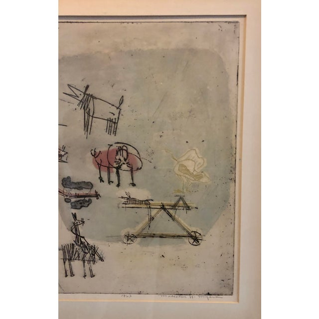 """1960s 1963 """"Artists Sketch Book"""" 7/25 Original Itaglio by Malcolm H. Myers, Framed For Sale - Image 5 of 13"""
