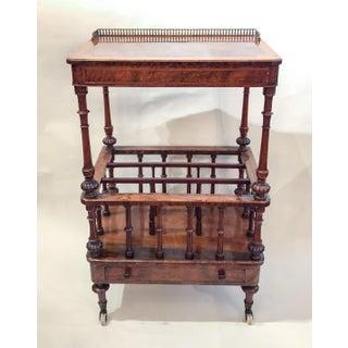 Antique English Finest Burled Walnut and Satinwood Canterbury, Circa 1860-1870.