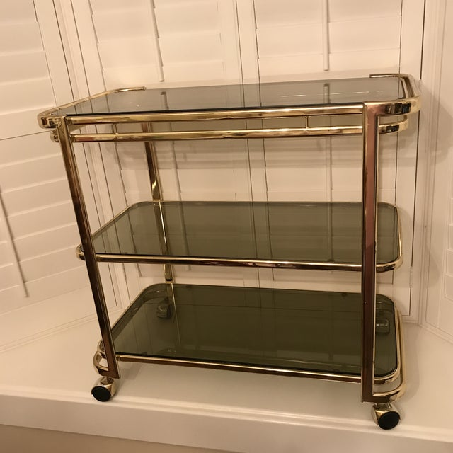 Mid-Century Brass & Smoke Glass Bar Cart - Image 10 of 10