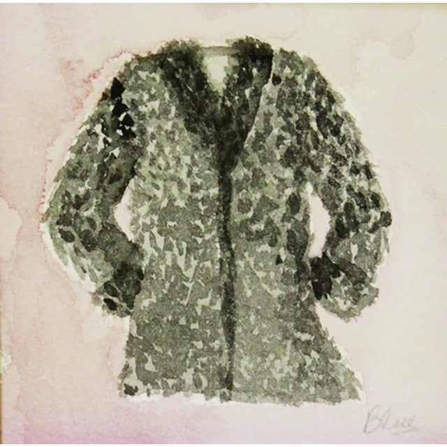 """Vintage black furry coat with a pink watercolor wash. Signed """"Blue"""" lower right. Displayed in a handmade mat with hand-..."""