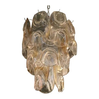 Amber Petals Chandelier by Mazzega For Sale