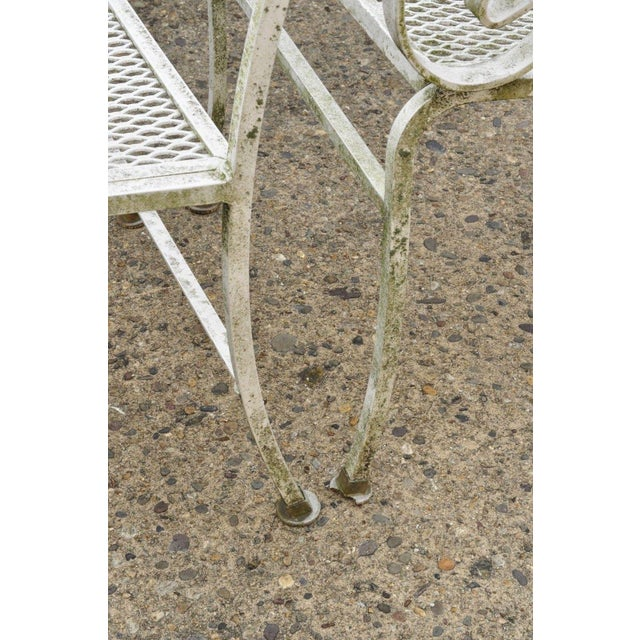 White Late 20th Century Vintage Cast Aluminum Scroll Arm Metal Patio Dining Table & Chairs - Set of 7 For Sale - Image 8 of 13