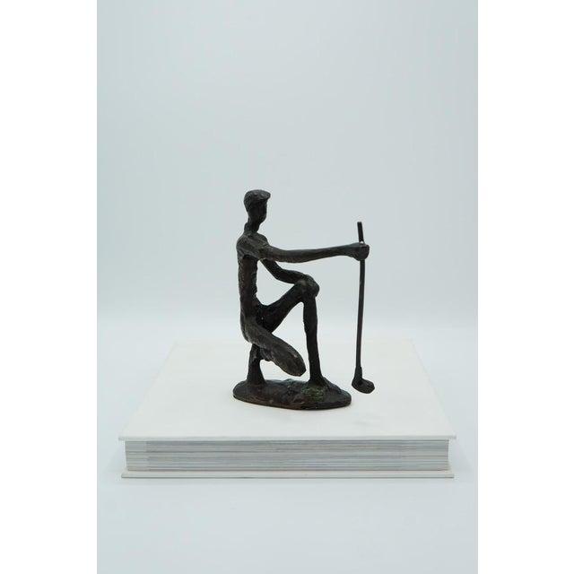 Bronze Vintage Bronze Golfer on the Green Sculpture For Sale - Image 8 of 9