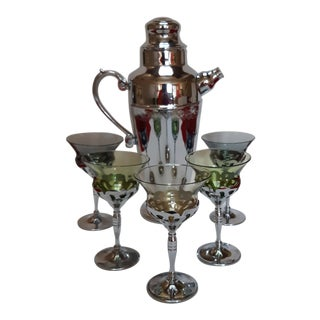 Art Deco Chrome Cocktail Shaker Set - 6 Piece Set For Sale