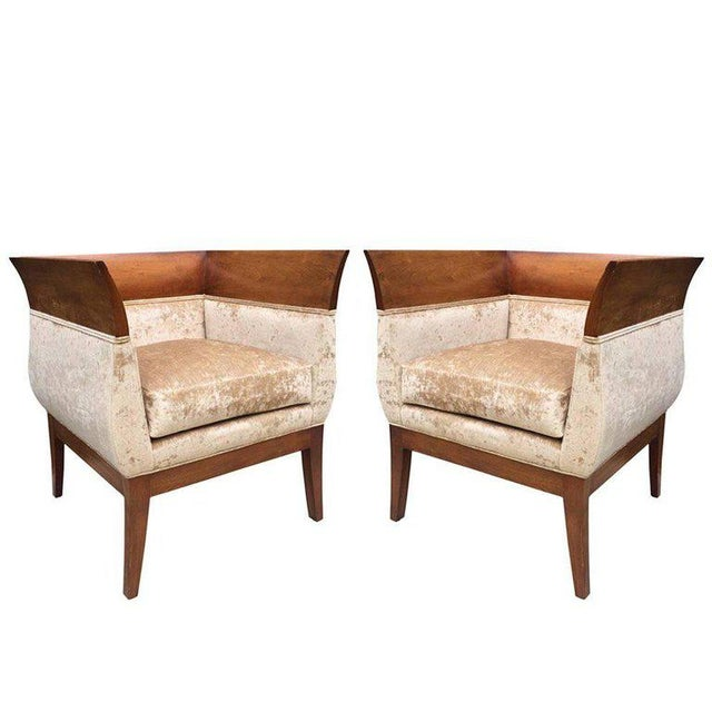 Pair Orlando Diaz-Azcuy Club chairs for HBF For Sale In New York - Image 6 of 6