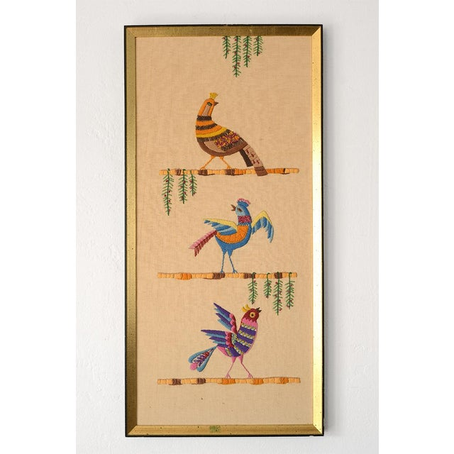 Mid Century Three Birds Crewel Embroidery Wall Hanging For Sale - Image 13 of 13