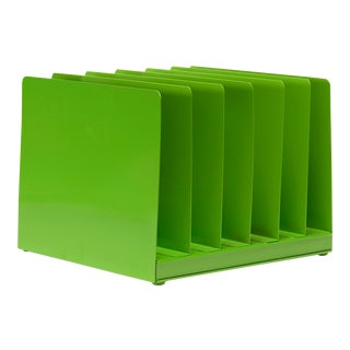 Retro File Office Organizer, Refinished in Lime Green For Sale