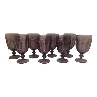 1980s Vintage Amethyst Purple Libbey Water Glass Goblets- Set of 8 For Sale