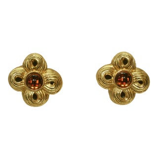 Givenchy Carved Amber Cabochon Glass Earrings For Sale
