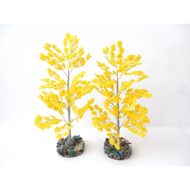Yellow Quartz & Semi Precious Stone Trees - Pair - Image 6 of 8
