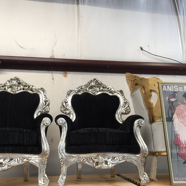 Silver & Velvet Black Throne Chairs - A Pair - Image 4 of 6
