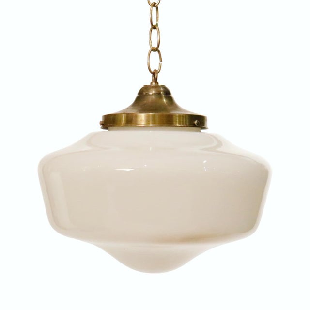 """Art Deco pendant glass chandelier with brass cap. Dimensions diameter 13"""" inches Total height: 13"""" inches"""