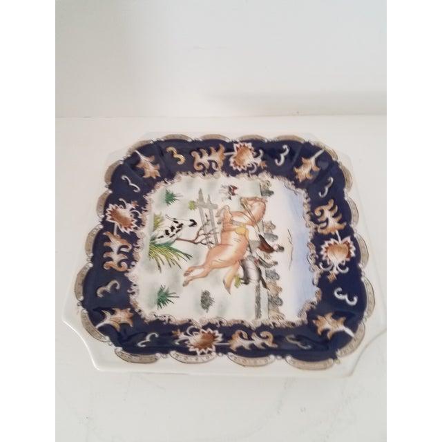 Vintage chinoiserie porcelain English hunt dresser dish marked.