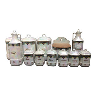 Early 20th Century Kitchen Canister Storage Set - Set of 12 For Sale