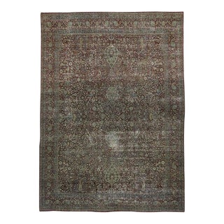 Distressed Antique Persian Kerman with Modern Industrial Style
