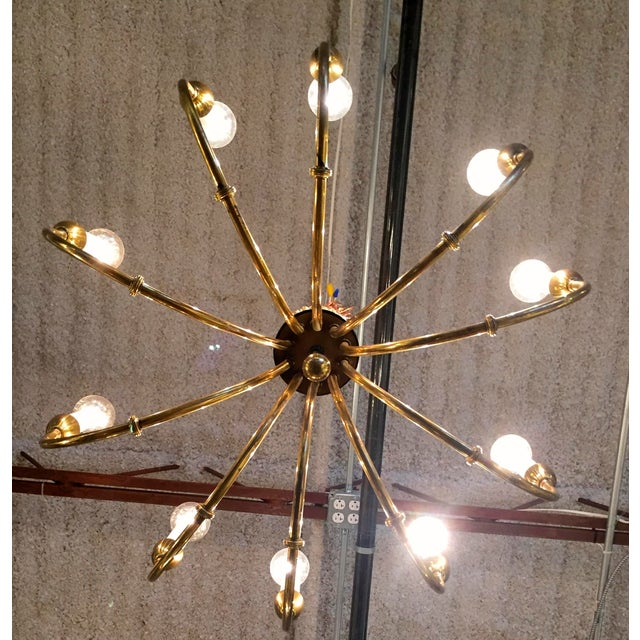 Mid-Century Modern Brass Chandelier in the Manner of Tommi Parzinger - Image 3 of 11
