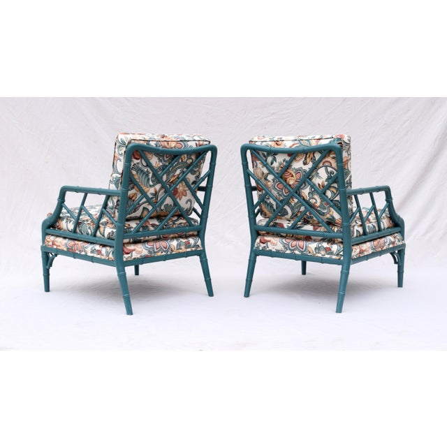 Late 20th Century Faux Bamboo Chinese Chippendale Lounge Chairs For Sale - Image 5 of 13