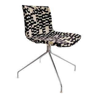 "Catifa 53 Chair by Arper Italy With Maharam ""Letters"" Upholstery For Sale"