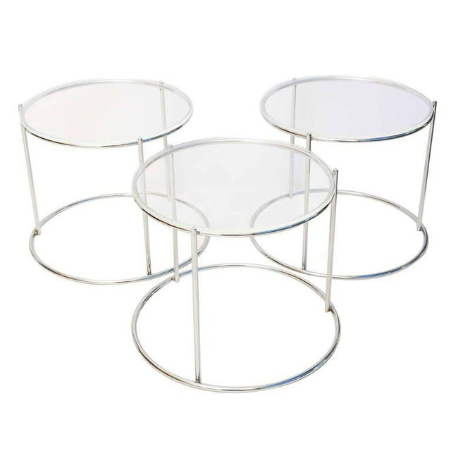 Round Polished Chrome Nesting Tables - Set of 3 For Sale - Image 13 of 13