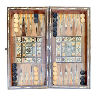 Vintage Mosaic Persian Khatam Backgammon Chess Wooden Inlaid Marquetry Box Game For Sale