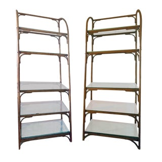 Vintage Chippendale Style 5 Tier Bentwood Rattan Etageres - a Pair For Sale