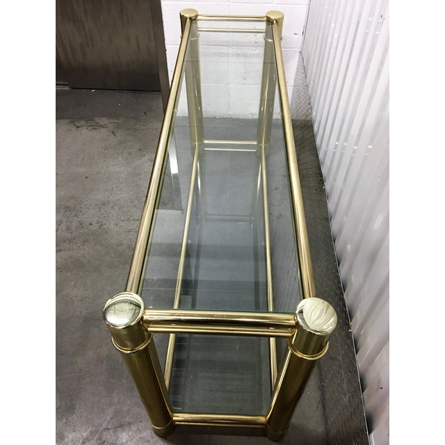 Brass Frame Double-Tier Glass Console Table - Image 4 of 6