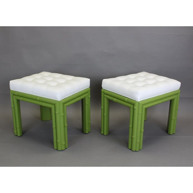 Pair of Faux Bamboo Green Benchches - Image 11 of 11