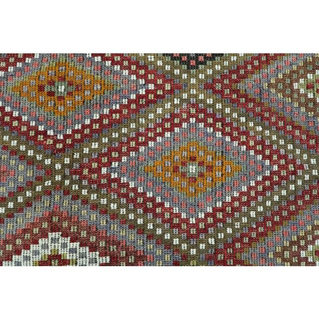"Mid 20th Century Vintage Turkish Kilim Embroidered Rug-5'10'x11'3"" For Sale - Image 5 of 13"