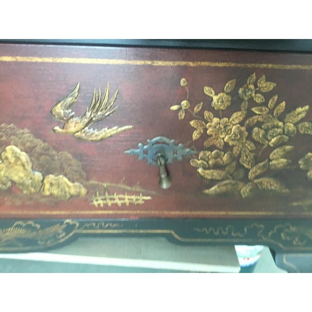 Red Chinoiserie Cabinet For Sale - Image 8 of 12