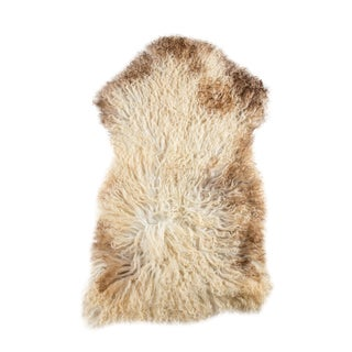 "Contemporary Handmade Long Soft Wool Sheepskin Pelt - 2'0""x3'0"""