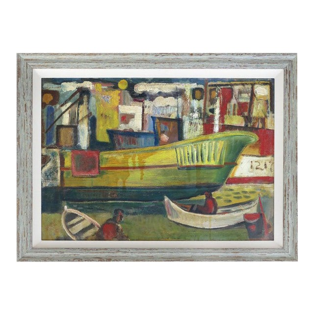 1960 Wpa Style Fishing Boatyard Oil Painting For Sale