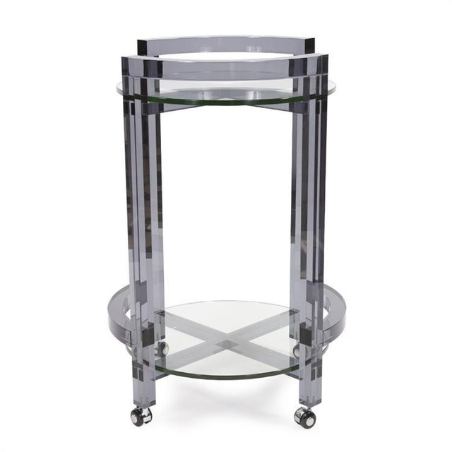 Contemporary Kenneth Ludwig Smoked Acrylic Bar Cart For Sale - Image 3 of 8