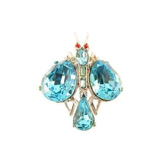 Bogoff Teal Crystal Figural Brooch, 1940s For Sale