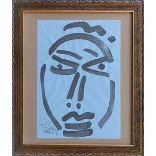 "Picasso Inspired Peter Keil ""Self Portrait"" Painting, Spain, 1973"