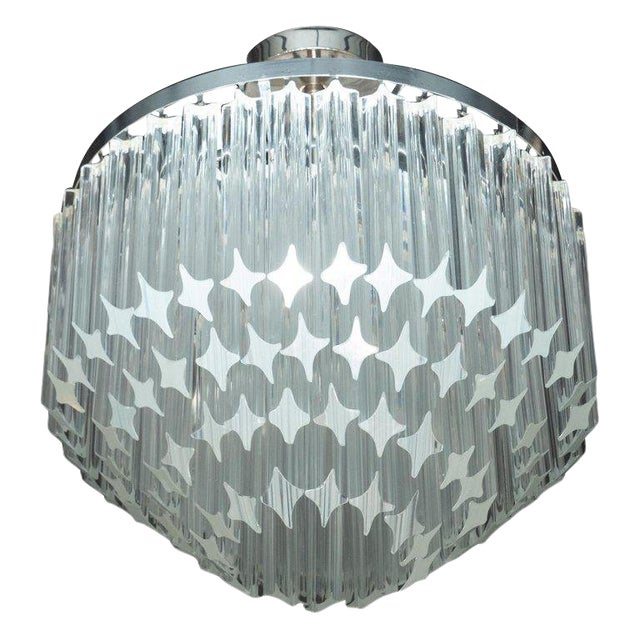 Italian Mid-Century Modern Camer Chandelier With Chrome Detailing For Sale