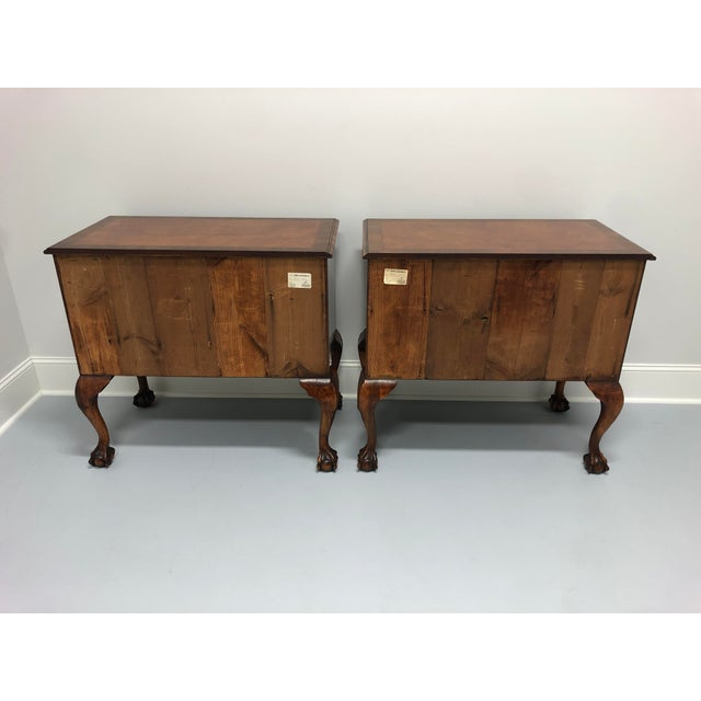 A Fine English Inlaid Burl Walnut Chippendale Lowboy Chests - a Pair For Sale - Image 4 of 13