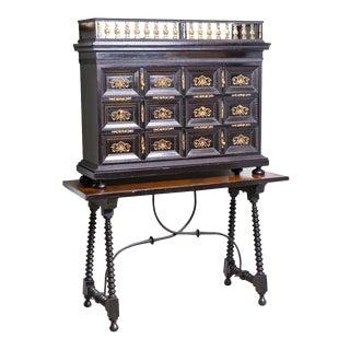 Antique Flemish Ebonized Cabinet on Spanish Table For Sale