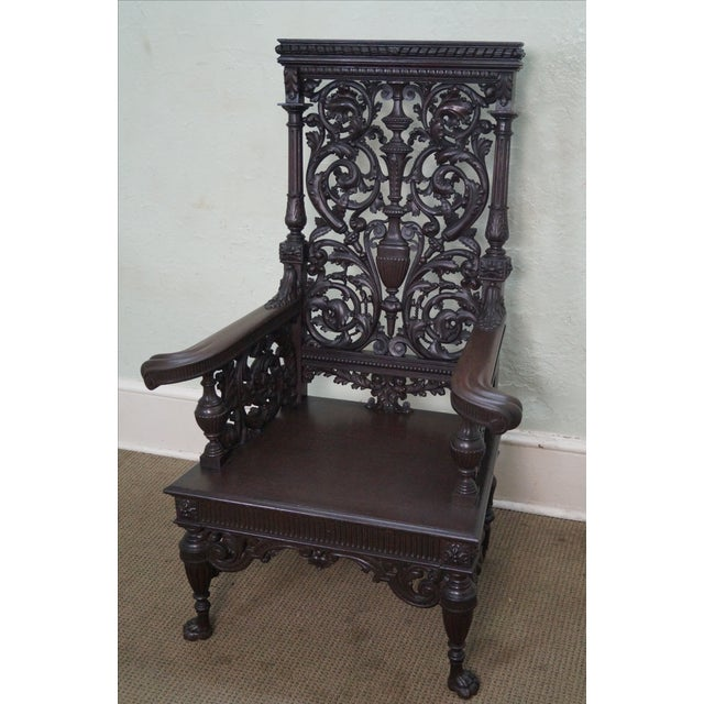 Antique 19th Century Carved Oak Throne Chair - Image 4 of 10