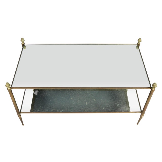 Mid-Century Modern Jansen Style Brass and Mirrored Coffee Table For Sale - Image 3 of 9