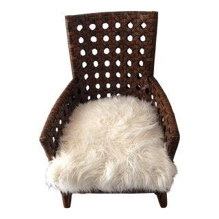 1970s Art Deco Faux Mongolian Fur Seat Woven Club Chair