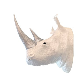White Rhino Head Sculpture For Sale