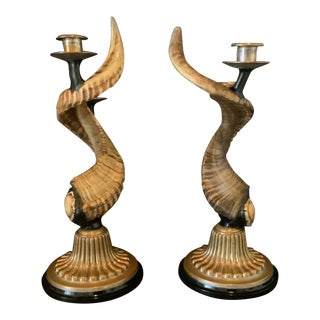 Vintage Rams Horns Candles Sticks With Silver Plated Base - a Pair For Sale