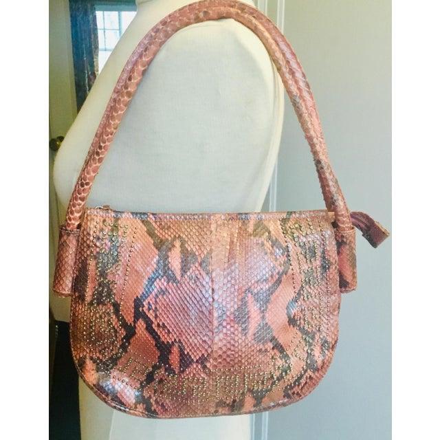 1990s Gianni Versace Iridescent Pink Python Shoulder Bag For Sale - Image 10 of 12