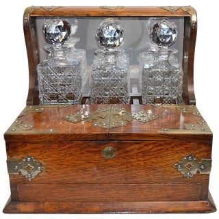 Mid 19th Century English Tantalus by Branah London - 4 Pieces For Sale