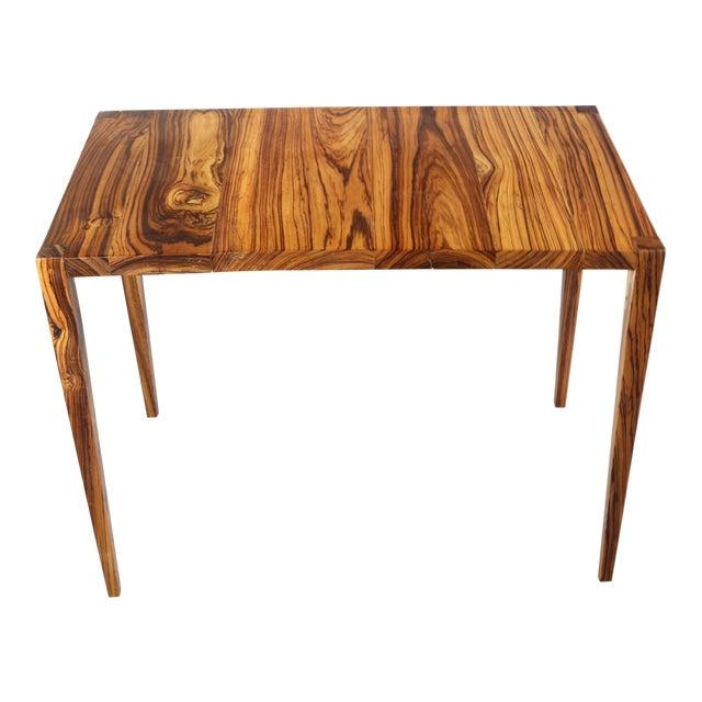 1970s Danish Modern Zebra Wood Writing Desk/Console Table For Sale