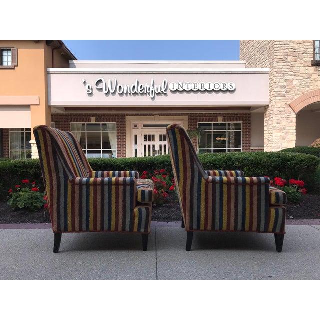 Vintage Century Furniture Kravet Vespa Multi Color Stripe Club Chairs - a Pair For Sale - Image 10 of 13